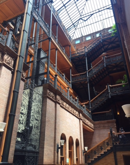 The Bradbury Building, as seen in movies from Blade Runner to The Artist.
